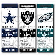 Party Ticket Invitations Best Football Ticket Stub Digital Invitation ANY TEAM Cute For A Baby