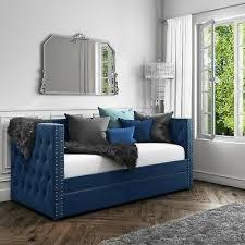 sacha velvet day bed in navy blue