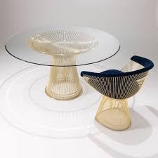 Moderner Esstisch Glas Stahl Marmor Knoll International