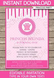 Girl Birthday Party Invitation Template Luxury Princess