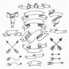 ヴィンテージの手書き風 Elementsbannersリボン弓と矢の設定夏とレトロなデザイン手の描画スタイル