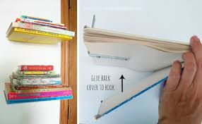 diy floating shelves book stack
