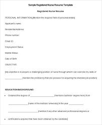 Free Nursing Resume Templates Sample Registered Nurse Resume