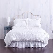white duvet cover with textured fl bead trim farmhouse bedroom
