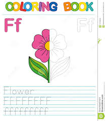 Nice alphabet coloring pages with big drawings and letters. Vector Coloring Book Alphabet Restore Dashed Line And Color The Picture Letter F Flower Stock Vector Illustration Of Capital Elementary 107249039