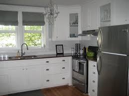 image of white glass subway tile kitchen