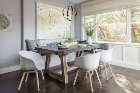 gray dining room table. Gray Dining Nook With Salvaged Wood And Concrete Table Weathered Beam Rectangular Room