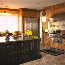 Accent Tiles For Kitchen Distressed Wood Cabinets Kitchen Rustic With Accent Tiles Black