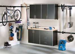 garage furniture indoor with bike storage wall and wooden cabinet idea