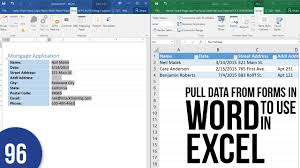 Excel Word Exporting Word Form Data To Excel Youtube