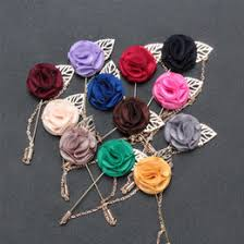 whole mdiger business suits handmade flower brooch insert long chain pin fashion mens flower metal brooches lapel pins for wedding