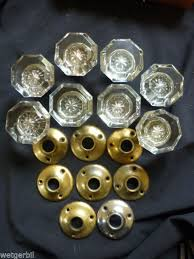 4 pairs edwardian antique glass door knobs back plates 1900s handle victorian