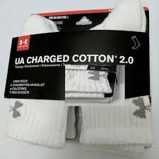 Ua Under Armour Youth Crew Socks White With Logo Nwt