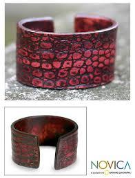 women s leather cuff bracelet red lizard