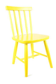 wooden child s chair in lemon yellow
