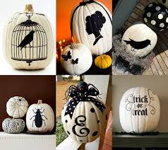 Classy white pumpkins (you can use white paint on classic orange pumpkins)  with beautiful black stencils - you can find lots of free pumpkin stencils  with a ...