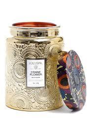 Voluspa Crane Flower Gilded Jar Candle Floral Geschenk