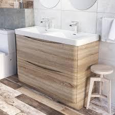 Light Oak Bathroom Furniture Erin Floor Standing 1200 Vanity Unit Basin Light Oak Easy
