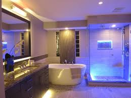 amazing bathroom lighting ideas with luxurious led lamp above the rectangular mirror and futuristic shower stall amazing amazing bathroom lighting ideas