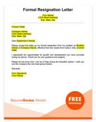 Formal Two Weeks Notice Resignation Letter Sample X How Do You Write
