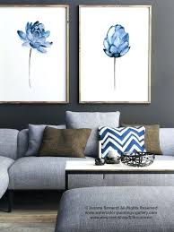 navy blue wall decor lotus flower art print fl watercolor painting set of 2 blue within