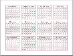 Example 12 Month Single Page Calendar