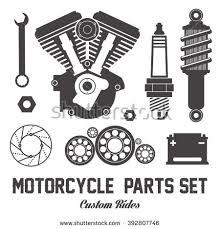 motorcycle parts items vector flat set stock vector 392807746