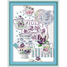 Cup tale <b>counted</b> canvas pattern DMC 14CT Cross Stitch kits ...