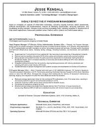 program manager resume example resume samples for project managers