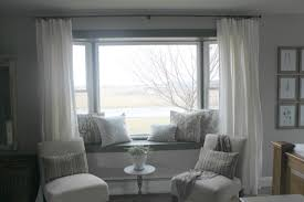 Decorations:Elegant Bedroom Bay Window Seating Design With Brown Curtain  Amusing White Bay Window Seating