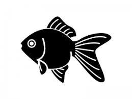 金魚の白黒シルエットのイラスト イラスト無料かわいいテンプレート