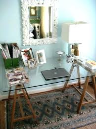 glass desk office wood and furniture with wooden legs set up home ikea
