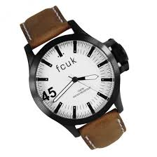 french connection fcuk mens leather watch fc1140t french connection fcuk gents brown leather watch fc1140t
