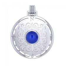 compass rose sterling silver pendant with gemstone tpd4210 image 1
