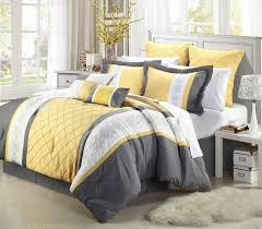contemporary bedspreads king size 20 piece oversize gray yellow embroidery forter sheet curtain