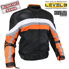 armored black and orange motocross motorcycle jacket
