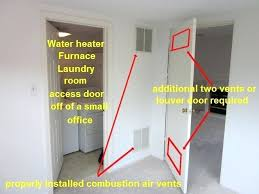 vented door for furnace room furnace closet