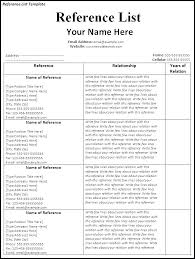 Sample Reference List For Job Resume Reference List Template Skinalluremedspa Com