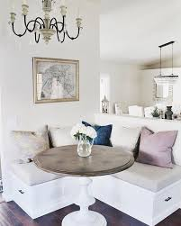 timeless whitewashed compact corner breakfast nook