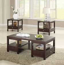 brooklyn espresso 3 pc coffee and end table set contemporary regarding brilliant household living room tables