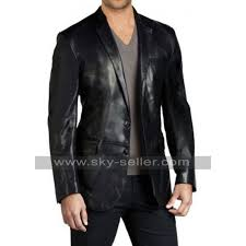 mens black leather blazer