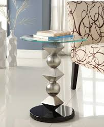 Round Chairside Table Homelegance Galaxy Round Chairside Table Brushed Chrome 4749 02