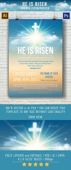 Christian Pamphlet Designs He Is Risen Template For Church Flyer Poster For 7