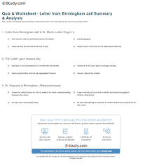 quiz worksheet letter from birmingham jail summary analysis  print letter from birmingham jail summary analysis worksheet