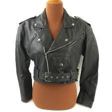 details about women s wilsons black leather cropped motorcycle jacket sz m punk biker grunge