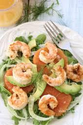 grilled shrimp avocado fennel and orange salad