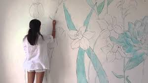 painting on the wallWALL ART Flowers in my Room speed painting  YouTube