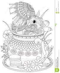 Adorable Squirrel Adult Coloring Page Stock Illustration - Image ...