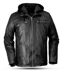 whet blu maddox mens urban styled hooded leather jacket
