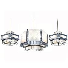 art deco theater chandelier and matching ceiling fans for